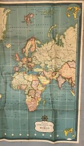 H1197 Vintage Very Old World Large Map 48 X 32 Inches Some Tears Overall Nice