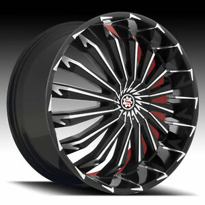26x 9 5 Inch Wheels Rims Scarlet Sw5 Black Machine And 255 30 26 Tires Fit 5x127