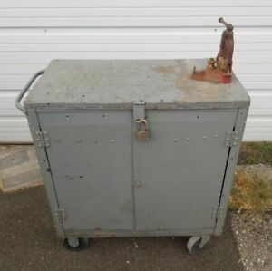 Vintage Gray Metal Rolling Industrial Cabinet Cart With Interior Equipto Drawers