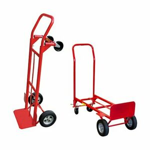 Milwaukee 600 Lb Cap 2 In 1 Convertible Hand Truck Trolley Moving Dolly Cart Red