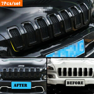 For Jeep Cherokee 2014 2018 Abs Black Front Grille Grill Inserts Ring Cover Trim