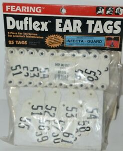 Fearing Duflex 2 Piece Ear Tag System 25 Tags Sheep And Goat White Set 51 To 75