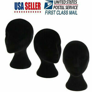 Female Styrofoam Foam Mannequin Head Model Wig Glasses Hat Display Stand Black