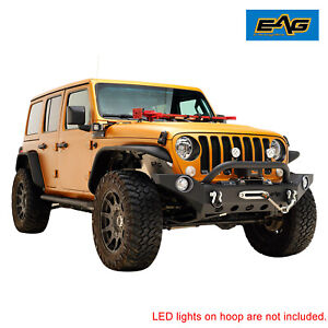 Eag Front Bumper Heavy Duty With Winch Plate Fit For 2018 2021 Jeep Jl Wrangler