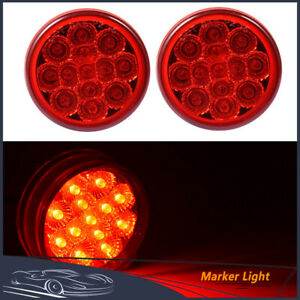 2pcs Red Round 2 5 Inch Side Marker Light Truck Trailer Clearance Lamp 13 Led