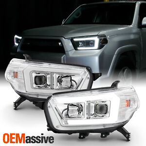 For 2010 2013 Toyota 4runner Led Drl Projector Headlights Housing Chrome