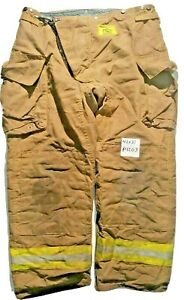 42x31 Morning Pride Brown Firefighter Turnout Bunker Pants Yellow Reflect P1203