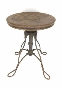 Antique Victorian Piano Stool W Twisted Wrought Iron Legs Oak Seat