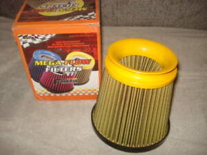 Mega Flow Yellow Funnel shaped Off road Style Air Filter 3 Throat 6 Tall