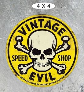 Vintage Evil Speed Shop Round Yellow Motorcycle Indian Hell Bent For Speed