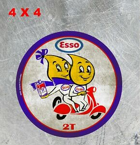 Vintage Style Esso 2t Motor Oil Happy Scootering Decal Laminated