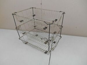 Vintage Metal Wire 3 Tier Desk Paper File Organizer In Out Trays