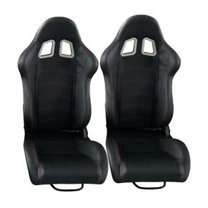 2 Pcs High Quality Black Faux Leathe Pvc Racing Seats Left Right Universal