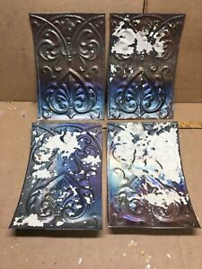 4pc Lot Of 11 By 8 Antique Ceiling Tin Metal Reclaimed Salvage Art Craft