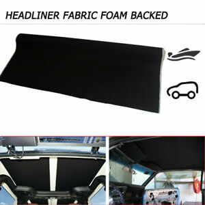 Headliner Material Fabric Upholstery 68 x 60 Black Sagging Replace Backed Foam