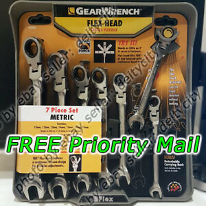 Gearwrench 7 Piece Metric Ratcheting Flex Head Combination Wrench Set Gear New