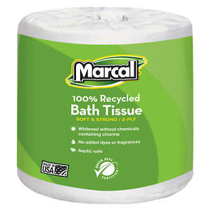 Marcal Toilet Paper 100 Recycled 2 Ply White Bath Tissue 336 Sheets 48 Roll