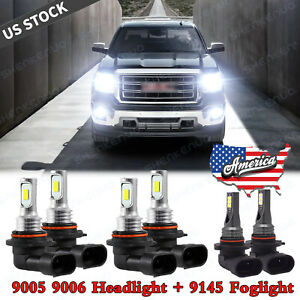 For Gmc Sierra 1500 2500 Hd 3500 2001 2006 Combo Led Headlight Fog Light Bulbs