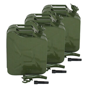 Gas Gasoline Fuel Army Army 3x Jerry Can 5 Gallon 20l Backup Metal Steel Tank