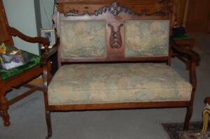 Antique Eastlake Victorian Love Seat Settee Sofa Fireside Couch Chair