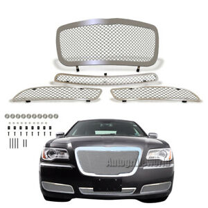 Fits 2011 2014 Chrysler 300 300c Mesh Grille Combo Stainless Steel Grill Insert