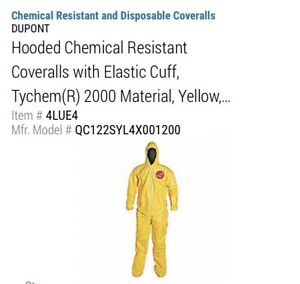 Dupont 4xl Tychem 2000 Hooded Chemical Resistant Coveralls W Attached Socks Ppe