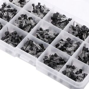 600 Pcs Transistor Assortment Kitset Three Pins 15 Values With Storage Box