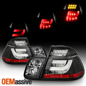 Fits Black 99 01 Bmw E46 3 Series 4dr Sedan Led Tail Lights Lamps W Led Tube Bar