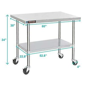 Stainless Steel Work Table 30 X 60 W caster Wheels Food Prep Commercial Table