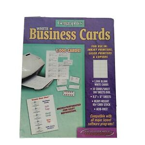 Geographics White Business Cards 1000 For Ink Jet Laser Copiers Nip Vintage