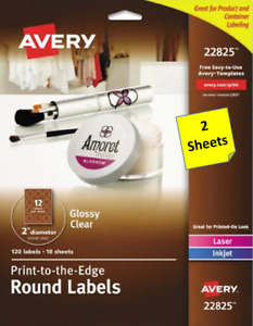 2 Sheets Avery 22825 Glossy Clear 2 Round Labels Laser inkjet