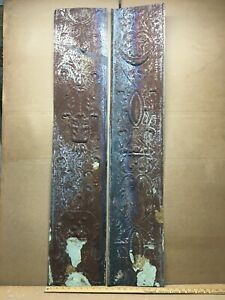 2 Pc 48 X 9 5 Flat Antique Ceiling Tin Vintage Reclaimed Salvage Art Craft
