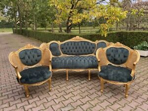 French Louis Xvi Sofa Set With 2 Chairs In Green Worldwide Shipping