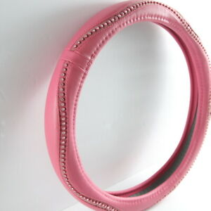 Steering Wheel Cover Pink Diamond Crystal Universal Fit 15 Inch