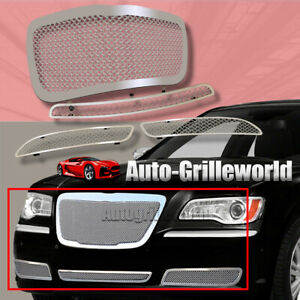 Fits 2011 2014 Chrysler 300 300c Stainless Steel Mesh Grille Grill Insert Combo