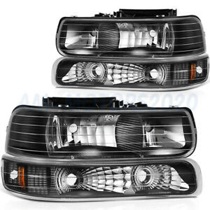 Headlights Assembly For Chevy Silverado 1999 2002 Black Housing Pair Replacement