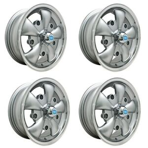 Gt 5 Wheels Silver With Polished Lip 5 5 Wide 5 On 205mm Dunebuggy Vw
