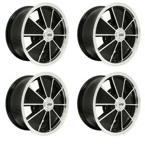 Brm Wheels Black With Polished Lip 5 Wide 5 On 205mm Vw Dunebuggy Vw