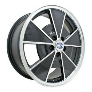 Riviera Wheel Black With Polished Lip 5 5 Wide 4 On 130mm Dunebuggy Vw