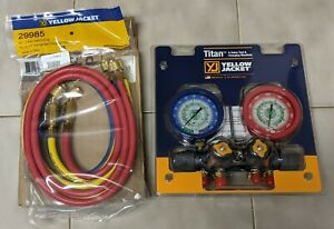 New Yellow Jacket 49922 Titan Manifold Only Liquid Gauges Bar psi R 22 W Hoses