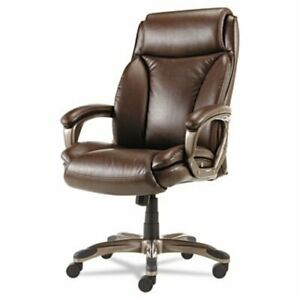 Alera Executive High back Leather Chair W Cushioning Brown alevn4159