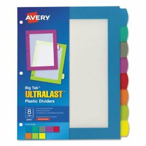Avery Big Tab Plastic Multicolor Dividers 8 Tab Letter 8 Dividers ave24901