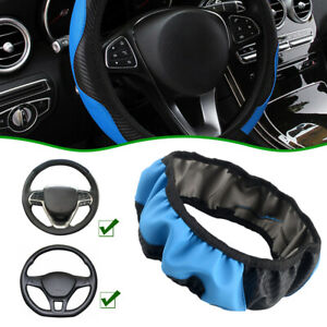 Black Blue 38cm 15 Car Auto Microfiber Leather Steering Wheel Cover Car Parts