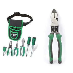 Electricians Tool Set 9 In High Leverage Pouch Multi Purpose Linesman Plier 7 Pc