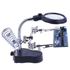 Soldering Solder Iron Holder Stand Station Magnifier Helping Adjustable Locking