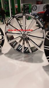 22 X 9 Inch Velocity V12 Wheels Rims Chrome Fit 5x115 Fit Charger Chrysler 300