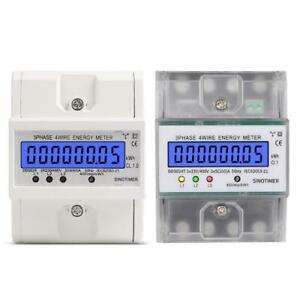 3 Phase 4 Wire Electronic Power Consumption Energy Meter Backlight Display Q