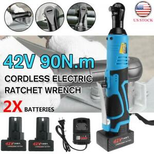 3 8 42v Electric Cordless Ratchet Right Angle Led Wrench Impact 2 Battery Us