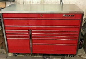 Snap On Tool Box Masters Series Candy Apple Red W Stainless Steel Top Very Nice