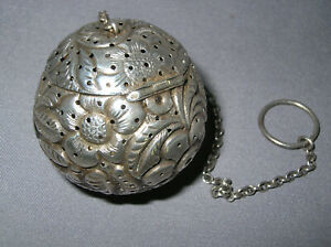 Repousse Sunflowers Leaves Sterling Silver Cottle Tea Ball